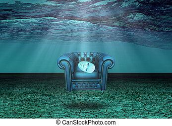 masque, sous-marin, désert, fauteuil, flotte, blanc