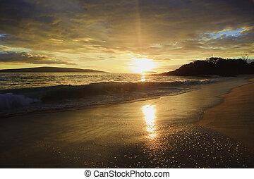 maui, plage, makena, coucher soleil