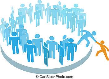 membre, groupe, aide, gens, grand, nouveau, joindre