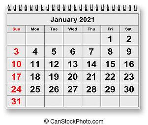 mensuel, -, janvier, 2021, calendrier, mois