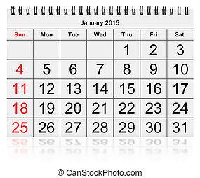 mensuel, janvier, calendrier, -, 2015