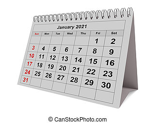 mensuel, janvier, mois, calendrier, -, 2021