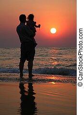 mer, contre, grand-père, eau, coucher soleil, fond, enfant