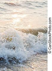 mer, vague, coucher soleil