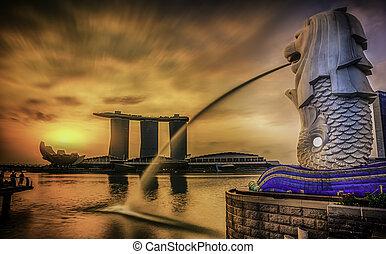 merlion, singapour, repère