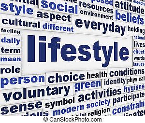 message, style de vie, fond, créatif