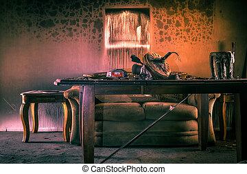 meubles, endommagé, brûler