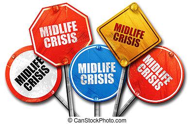 midlife, collection, signe, rue, rendre, crise, rugueux, 3d