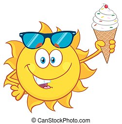 mignon, crème, tenue, soleil glace
