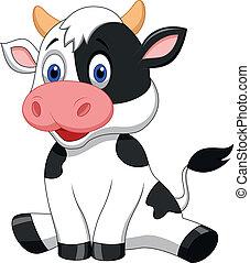 mignon, dessin animé, vache, séance