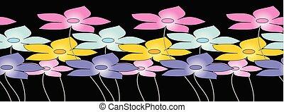 mignon, fleur, frontière, seamless