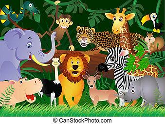 mignon, jungle, animal, dessin animé