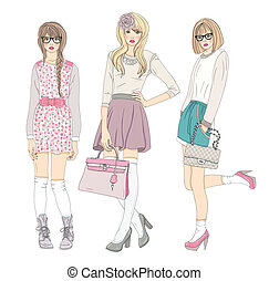 mignon, mode, filles, adolescent