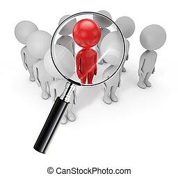 mignon, recherche, gens, -, employé, 3d