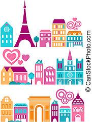 mignon, villes, vecteur, illustration, mondiale