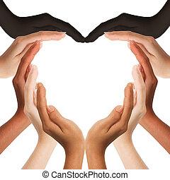 milieu, mains, coeur, multiracial, confection, forme, espace, fond, copie, humain, blanc