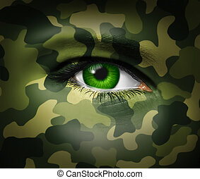 militaire, oeil, camouflage