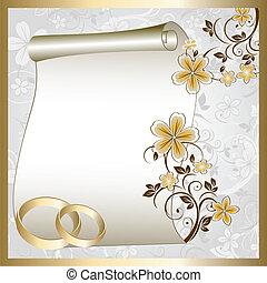 modèle, carte, mariage, floral