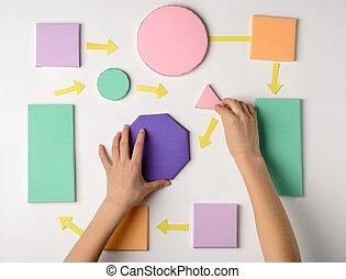 modèle, fabrication papier, processus, couler, blocs, enfant