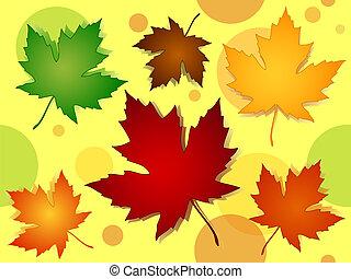 modèle, feuilles, seamless, couleurs, automne, érable