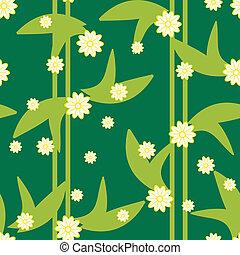 modèle, seamless, conception, floral, vert, fleurs