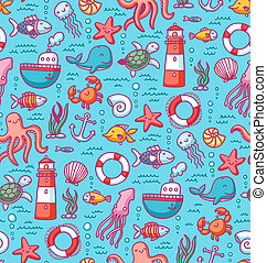 modèle, seamless, remplir, mer, nautique, doodles, créatures
