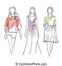 modèles, ensemble, mode
