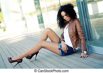 mode, top model noire, jeune, portrait, femme