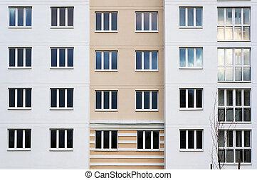 moderne, appartement, extérieur, bâtiment.