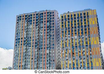 moderne, bâtiments, nouveau, appartement