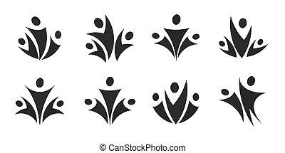 moderne, logo, éditorial, gens, noir, business., illustration, blanc, vecteur, set., isolé, silhouette, collection., conception, gabarit, équipe, concept, arrière-plan., emblème, icône
