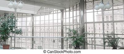moderne, spacieux, couloir, bureau, bâtiment.