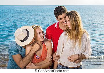 moments, doux, amants, plage