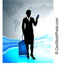 mondiale, autour de, voyager, femme affaires
