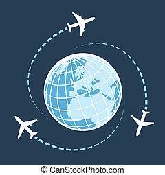 mondiale, autour de, voyager, transport, air
