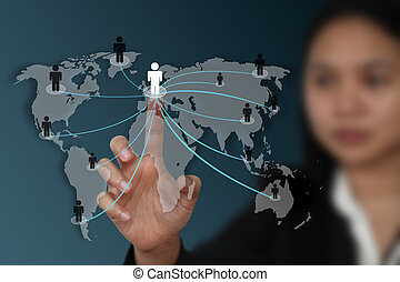 mondiale, concept, réseau, social