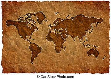 mondiale, papier, froisser, carte