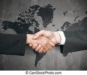 mondiale, poignée main, business