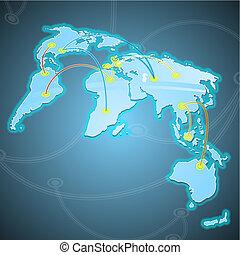 mondiale, routes., commerces, quelques-uns, illustration