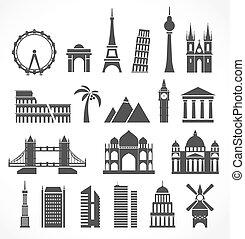 mondiale, silhouettes, signts, résumé, célèbre