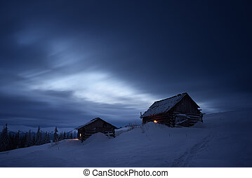 montagne, nuit, paysage, village