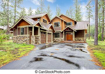 montagne, pierre, bois, maison luxe, exterior.