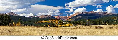 montagne, rocheux, panoramique, automne, paysage, colorado