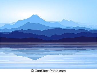 montagnes bleues, lac