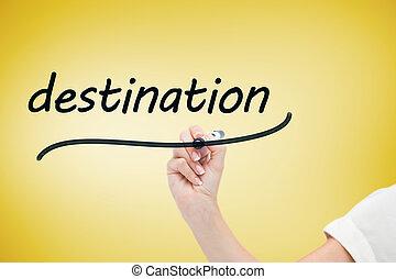 mot, écriture, destination, femme affaires