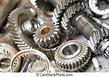 moteur, automobile, gros plan, engrenages