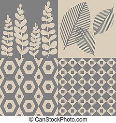 motifs, beige, gris