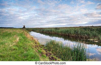 moulin, herrinfleet, crépuscule