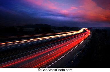 mouvement, voitures, blur., nuit
