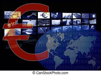 multiple, business, image, écran, constitué, euro